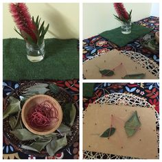 Nature as inspiration. Bottlebrush flower becomes a cognitive and fine motor experience of elastic bands and dried leaves. Interpretations were constructed using these elements and a nail board. Bottlebrush, Child Care, Reggio, Fine Motor, 4 Years, How To Become, Bands, Leaves, Nail