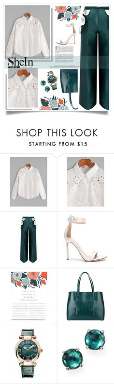 """Beige & Green Eyelet Flower Embroidered Shirt"" by heyra on Polyvore featuring Gianvito Rossi, Alaïa, Chopard and Ippolita"