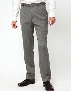 $38  ASOS Slim Fit Smart Pants in Gray Herringbone