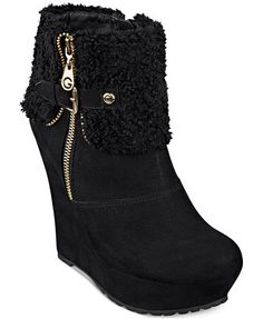 G by GUESS Women's Paso Faux-Fux Fold-Over Platfom Wedge Booties