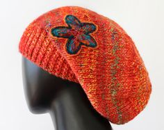 Papaya Slouch Hat   Warm & Cosy Knitted Hat  by StripyKite on Etsy, £28.00