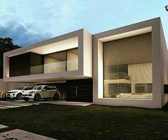 ... House Outer Design, Duplex House Design, House Front Design, Modern House Design, Villa Design, Architecture Design, Modern Architecture House, Beautiful Architecture, Modern House Facades
