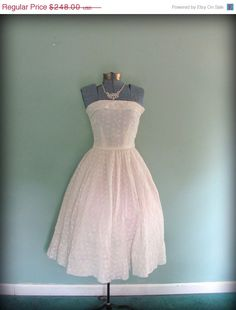vintage 50's cotton eyelet tea length wedding dress $223