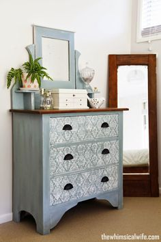 A Stenciled Dresser Makeover with Duck Egg Blue & Old White Chalk Paint® decorative paint by Annie Sloan | By The Whimsical Wife