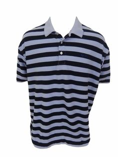Kani Gold Polo Shirt Size 4X Big & Tall Blue Striped Cotton Short Sleeve #KaniGold #PoloRugby