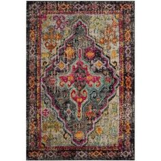 Safavieh Monaco Vintage Bohemian Grey/ Pink Distressed Area Rug (5' 1 x 7' 7) | Overstock.com Shopping - The Best Deals on 5x8 - 6x9 Rugs