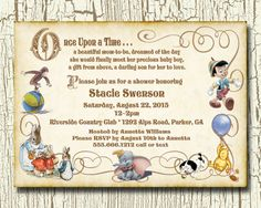 ONCE UPON A TIME   Storybook Baby Shower Invitation   Digital Printable  .jpeg Image