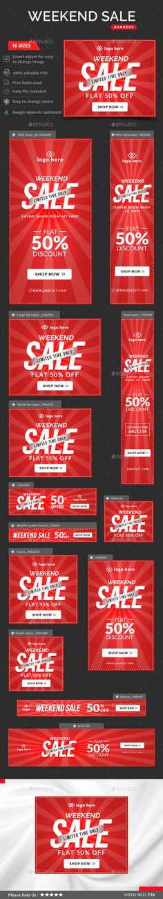 Weekend Sale Web Banners Template PSD #design #ad Download: http://graphicriver.net/item/weekend-sale-banners/13139694?ref=ksioks