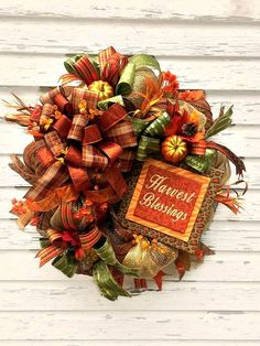 On Sale! Deco Mesh Fall Wreath w/ Harvest Blessings sign, Thanksgiving Wreath…
