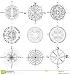 Illustration about Vector set illustration of abstract artistic drawings compass for area map. Illustration of sign, compass, black - 30600743 Trendy Tattoos, Small Tattoos, Tattoos For Guys, Tiny Tattoo, Temporary Tattoos, Compass Drawing, Compass Vector, Mariners Compass, Abstract Drawings