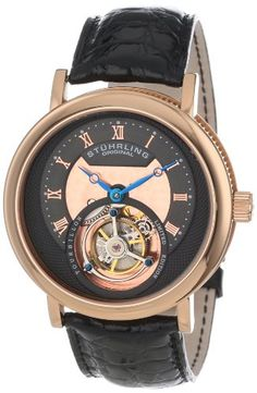 "Stuhrling Original Men's 502.334XK54 ""Limited Edition"" 16k Rose Gold Mechanical Watch with Leather Band"