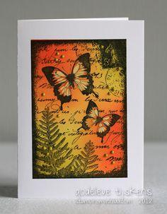 StampingMathilda: Darkroom Door - Butterfly Garden   oil pastels and distress ink