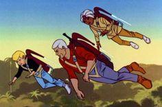 Jet Packs and Johnny Quest Vintage Cartoons, Classic Cartoons, Old School Cartoons, Funny Cartoons, Cartoon Shows, Cartoon Characters, Cartoon Logic, Race Bannon, Jonny Quest