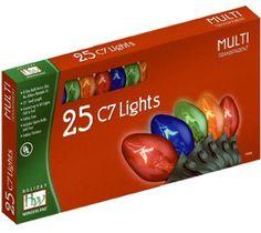 Holiday Wonderland 25 Count C7 Multi Color Transparent Christmas Light Set -- Click on the image for additional details.