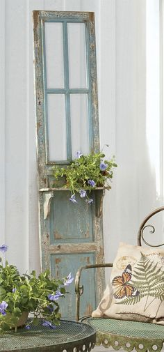 Add Vintage Appeal Your outdoor décor will appreciate a twist on the classics. Lean an old-fashioned distressed wood door on one of your deck walls, or hang it so that it provides shade or a windbreak. Either way, it adds instant charm. Keep the retro vibe with an old-time wagon or a vintage bike filled with flowers.