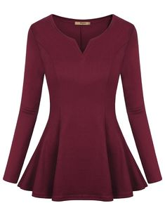 DJT Womens Scoop Neck Fitted Peplum Tunic Top Large Wine Machine wash, Cold Scoop neck Fit and flared fit A-line flared hemline We have adjusted the product size according to customers' feedback on Oct refer to the item description below for size details Red Peplum Tops, Look Fashion, Fashion Outfits, Sexy Outfits, Blue Long Sleeve Tops, Long Sleeve Peplum Top, Shirt Bluse, Mode Hijab, Tunic Tops