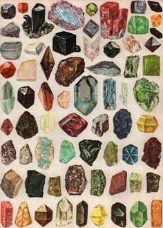 Lovely illustration of rocks and minerals. This reminds me of a book I had and loved when I was little, the Usborne book of rocks and minerals or something. the cover was yellow, with very similar illustrations like these. Love Rocks, Rocks And Gems, Inspiration Art, Art Plastique, Rocks And Minerals, Stones And Crystals, Healing Crystals, Healing Stones, Krystal