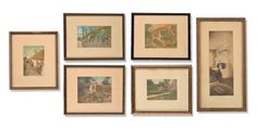 """Selkirk Auctioneers  GROUP OF SIX PRINTS BY WALLACE NUTTING (AMERICAN, 1861-1941).  Hand-colored photographic prints all signed. Various scenes of gardens, architecture, and one interior. Largest framed, 14.25""""h. 17""""w.  Estimate $ 100-150"""