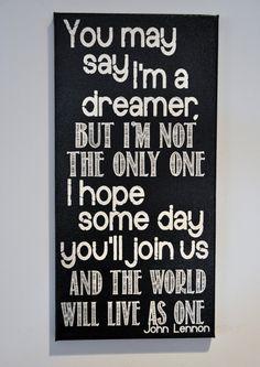Imagine - John Lennon - Canvas Art wall decor, for Home, Office, Dorm, Bedroom,  Kids Room wall art. $39.95, via Etsy.