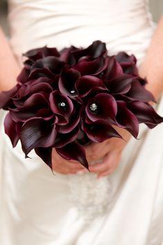 Dark calla lily bridal bouquet, stunning.