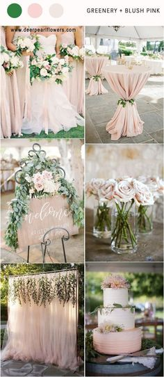LOVE!! Green, Blush, Champagne, Silver, Brown http://www.deerpearlflowers.com/greenery-wedding-color-palettes/ #weddingtips