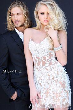 Cheap Sherri Hill 21143 Ivory Lace Cocktail Dress