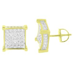 These pair of Earrings Features Simulated Lab Diamonds throughout Its Forefront. Stock: V01A-SE15178-6126 Stone Type: Lab Diamond Stone Color: Clear Dimensions: Length - 11 MM; Width: 11 MM Weight: 3.5 grams Material: Brass Material : 14K Gold Finish