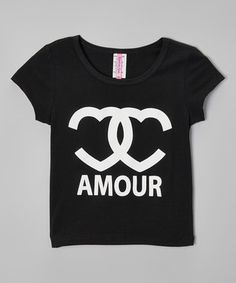 Black 'Amour' Fitted Crop Top - Girls