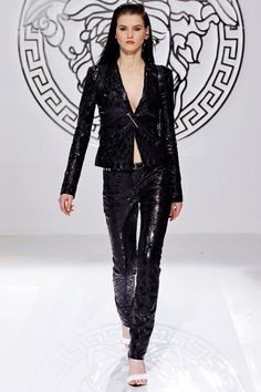 Black Leather Pantsuit in Masculine Feminine Style Fashion Trend for Fall Winter 2013 I Versace