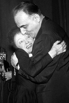 Edith Piaf and Michel Emer Bruno Coquatrix, director of the Olympia, 1958