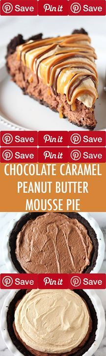 Chocolate Peanut Butter Caramel Mousse Pie - Oh my WORD. This is pure decadence! Chocolate Peanut Butter Caramel Mousse Pie #chocolate