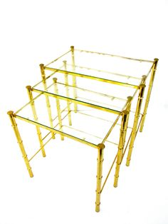 Vintage Hollywood Regency Brass Faux Bamboo Nesting Tables