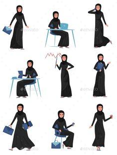 Buy Flat Vector Set of Muslim Business Woman in by Happypictures on GraphicRiver. Set of Muslim business woman in different actions. Muslim Girls, Muslim Women, Girl Cartoon Characters, Flat Drawings, Anime Muslim, People Figures, Arab Women, People Illustration, Iconic Women