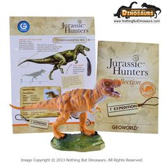 T-Rex or Tyrannosaurus Rex - GeoWorld Jurassic Hunters Realistic Dinosaur Collectible Toy Figure Model with Educational Learning Fact Card - Nothing But Dinosaurs