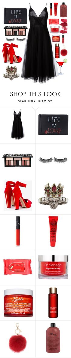 """""""Untitled #738"""" by mariananava ❤ liked on Polyvore featuring Valentino, Gucci, Kat Von D, Battington, Alexander McQueen, NARS Cosmetics, Dr. Sebagh, Kiehl's, Clarins and L.K.Bennett"""