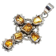 "Rough Citrine Cross 925 Sterling Silver Pendant 2"" PD565061"