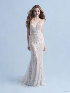 This Ariel-inspired gown is playful, yet elegant. A subtle flared train is reminiscent of a mermaid's silhouette, while sparkling sequins mimic the play of light across the moonlit sea. Sheath Wedding Gown, Wedding Dress Sizes, 21st Dresses, Bridesmaid Dresses, Disney Wedding Gowns, Cruise Wedding, Disney Weddings, Bridal Gallery, Essense Of Australia