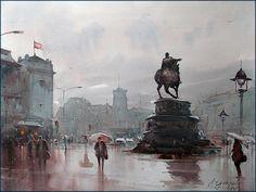 Dusan Djukaric  On square, at 2 p.m , watercolor, 74x54 cm