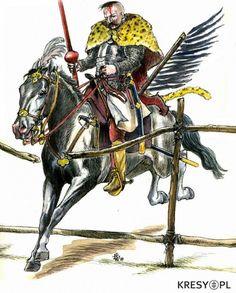 Szarżujący Husarz podczas bitwy pod Kłuszynem 4 lipca 1610r. , rys. Dariusz Wielec (kresy.pl)