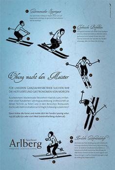 Sporthotel Arlberg Anzeigen | Design: zurgams Restaurant, Movie Posters, Design, Filing, Communication, Diner Restaurant, Film Poster