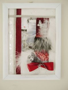 FRENCH SHABBY CHIC STYLE ORIGINAL COLLAGE ART PICTURE FRAMED SILVER & DARK RED