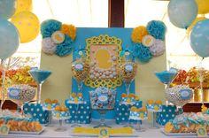 Beautiful baby shower candy bar from Lisa's Candy Buffet - event hosted at Sunset Ballroom at Jack Baker's Lobster Shanty in Point Pleasant Beach, NJ. http://www.lbcandybuffet.com/