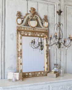 ELOQUENCE® Antique French Mirror, Circa 1860 Mirror Photo Frames, Frames On Wall, Mirror Image, Hall Mirrors, Mirror Mirror, French Decor, French Interior, Interior Photo, Spiritual Decor