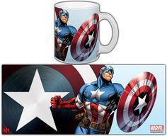 The Avengers - Captain America - Mug Captain America, Qhd Wallpaper, Sublimation Mugs, Tea And Books, Mug Printing, Cool Mugs, Glass Wall Art, Gold Print, Mandala Art
