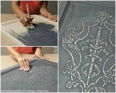How to Stencil Tutorial: Create a Carved Wood Effect with Stencils and Wood Icing™ - Royal Design Studio Furniture Stencils Buy Annie Sloan Chalk Paint®‎ from local stockist Brenda Brown @ Annex of paredown in Ann, Arbor Studio Furniture, Furniture Projects, Furniture Makeover, Diy Furniture, Furniture Design, Furniture Stencil, Furniture Websites, Furniture Outlet, Kitchen Furniture