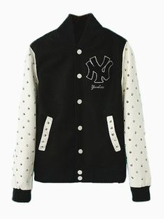 Shop Black Baseball Bomber Jacket With Stud PU Sleeve from choies.com .Free shipping Worldwide.