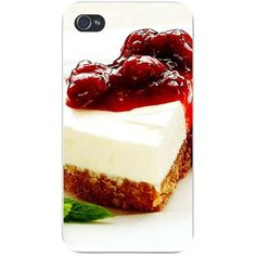 Hat Shark Apple iPhone Custom Case 5 / 5s and SE White Plastic Snap on - Cheesecake w/Red Fruit Topping Closeup