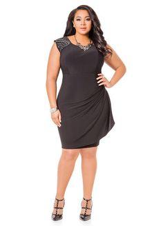 Ashley Stewart Web Exclusive Rhinestone Shoulder Side Drape Dress