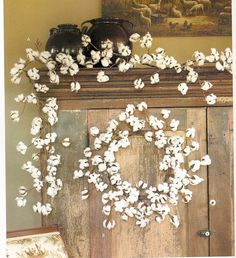 Cotton Ball Garland and Wreath. Love this!!!! I like the garland and thought immediately of you @Pat Wallace!
