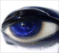 Jinx Garza Lampwork Dark Purple Glass Evil Eye Bead 20409 | eBay...$30